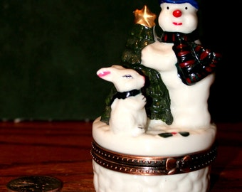 Vintage Porcelain Jewelry Trinket - Ring Boxes -  Christmas Ornament