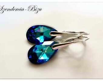 Silver earrings with Swarovski Elements Pear-shaped 16mm Crystal Bermuda Blue