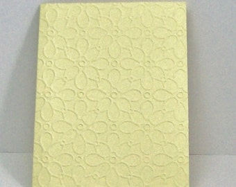 10 Yellow Embossed Flower Cards with Embossed Cardstock Envelopes, Embossed Card,  Embossed Cards. Yellow Greeting Card, Yellow Note Card