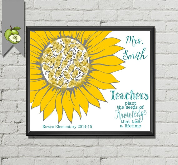 Quotes About Teachers Planting Seeds: Sunflower Art Teacher Appreciation Teacher Gift Teachers