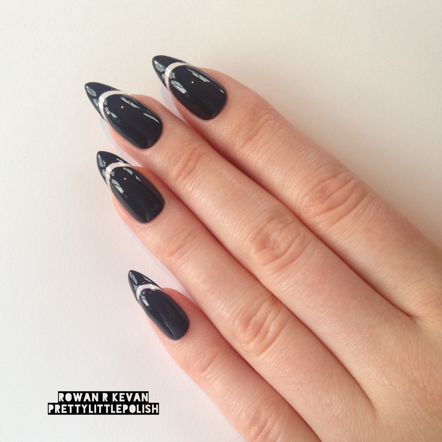 White tip stiletto nails