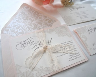 Lovely Ivory and Blush Lace Wedding Invitation *NOT A SAMPLE LISTING