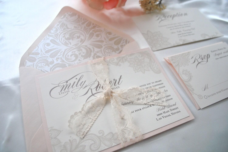 Blush And Ivory Wedding Invitations: Ivory Blush Lace Wedding Invitation Lovely Ivory Champagne