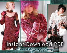 Instant Download PDF ebook - crochet patterns. Women's crochet and knitting blouses, dresses, jackets, cardigans, freeform, irish lace JM562