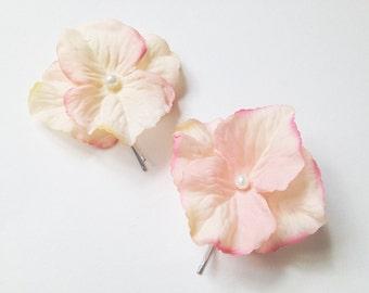 Pastel Flower Pins, bobby pin set, bridal hair clips, wedding flower pins, pink flower bobby pins, pink bridal flowers - PASTEL