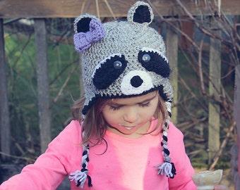 Girls Raccoon earflap hat