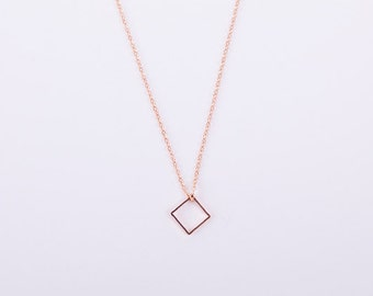 Minimal necklace Square Box - Diamond Rose Gold Rosegold Necklace Hash