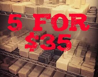 5 for 35.00, Handmade Soap,  Homemade Soap, Natural Soap, Vegan Soap, Artisan Soap, Bar Soap, Gift, Gift Soap, Deal, Bargain, Gift Set