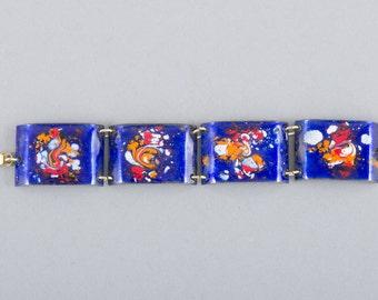 Vintage Blue Enamel Bracelet - Handmade - Mid Century Modern - Enamel Jewelry - Link Bracelet - Vintage Bracelet - Vintage Jewelry