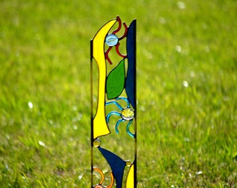 Stained Glass Garden Decoration,  Crazy Shapes and Bold Colors, 'Whirligig'