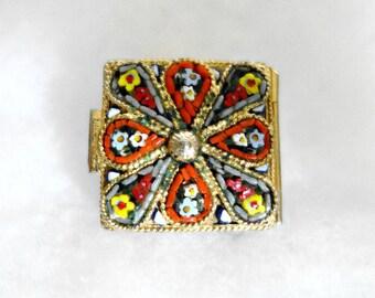 Vintage Micro Mosaic  Pill Box, Micro Mosaic Collectible
