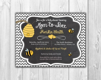 Mom to Bee | Baby Shower Invitation  (8 Invitations and 8 Envelopes)