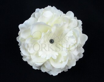 "Cream - Set of 3 Large 4"" Ruffled Peony Flowers - RP-004"