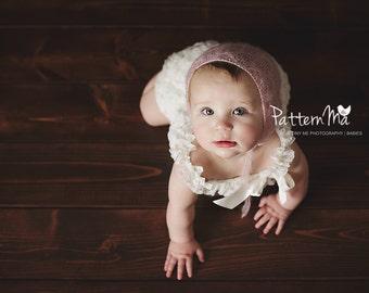 Knit Baby Bonnet Pattern Lace Mohair Bonnet #32