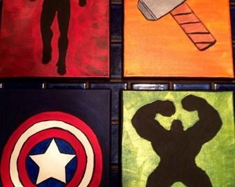 Super hero Avengers Inspired 8x10 set (Iron Man, Thor, Captain America, Hulk, Silhouettes)