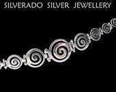 Sterling Silver 925 Ancient Greek Infinity Swirl Key Graduaded Bracelet 19.5 cm 7.60 inches FREE SHIPPING