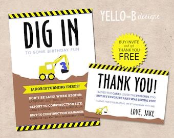 Construction Birthday Invitation & Thank You