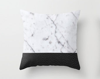 Marble and Black Leather Pillowcase