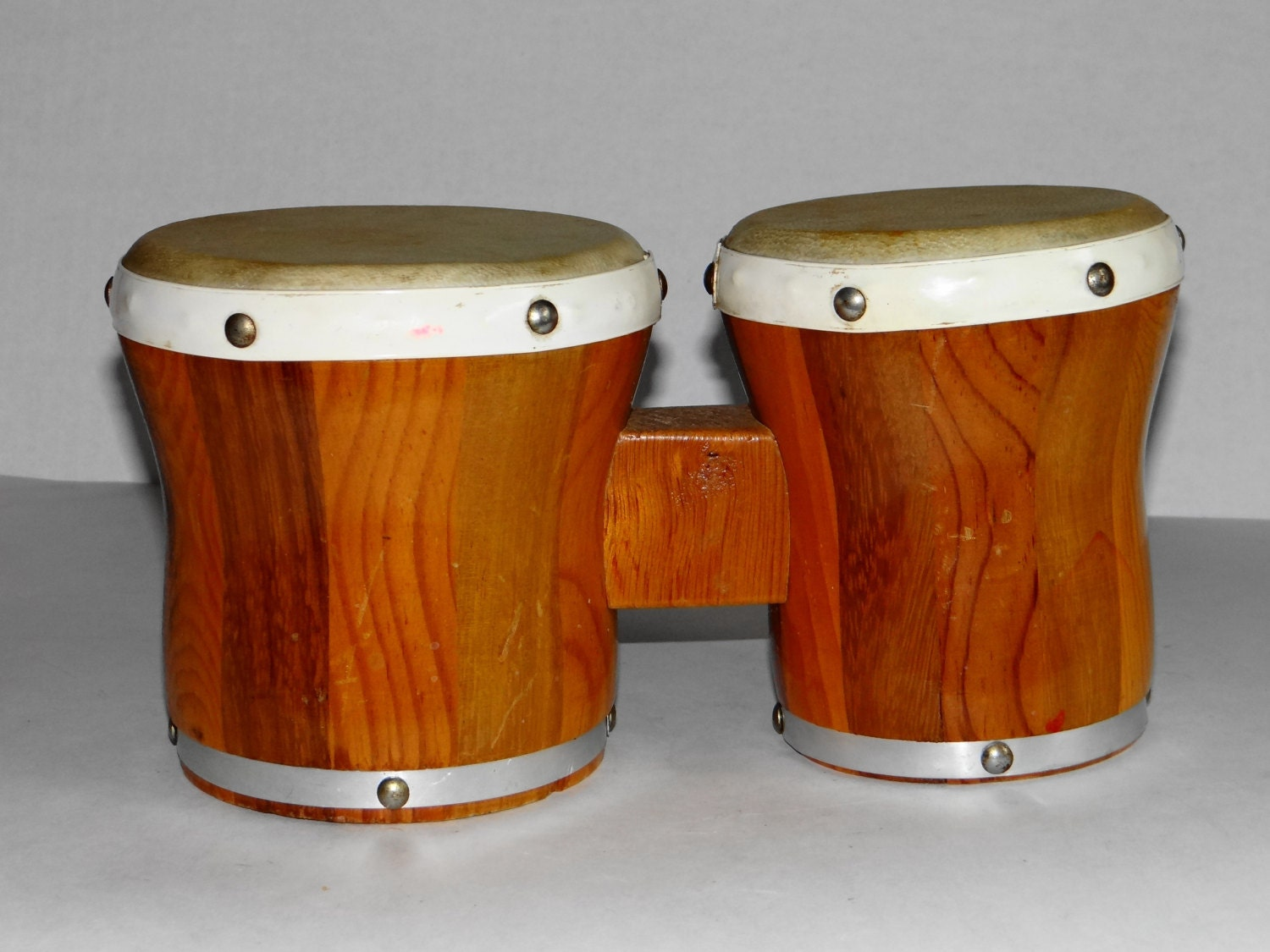 Vintage s wooden double bongo drums by