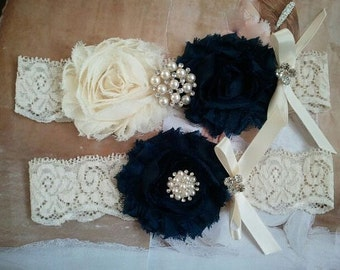 SALE - Bridal Garter, Wedding Garter and Toss Garter - Ivory/Navy Garter Set with Pearl & Rhinestone - Style G218