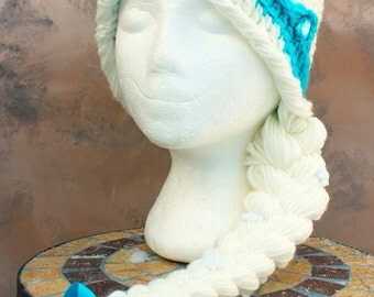 Thick double threaded Frozen Queen Elsa Inspired Ready to be shipped youth size hat