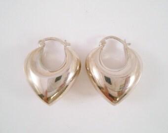 Sterling Puffy Earrings Pierced Dangle
