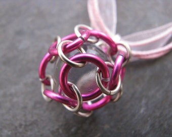 Caged Marble Necklace; Chainmaille; Pink Jump Rings; Silver Jump Rings, Clear Marble