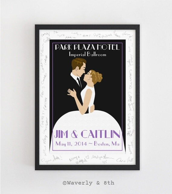 Custom Wedding Art Poster: Personalized Wedding Poster Guest Book Alternative OR