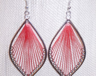 SALE!! PINK silk threaded, long, silver plated earrings, women's jewelry, accessory, unique, gift, dangle