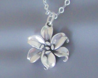Sterling Silver Lily Necklace, Flower Necklace