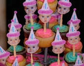 Pink birthday hat photo cupcake toppers using 2 photos