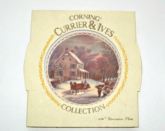 Vintage Corning Currier and Ives Collector Plate