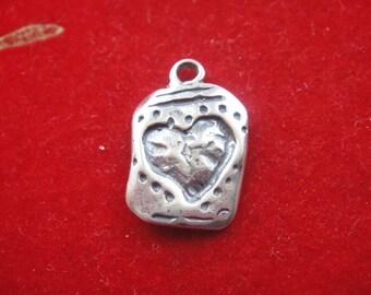 925 sterling silver oxidized heart charm, silver heart, heart