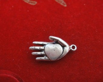 925 sterling silver hand holding heart, silver hand, silver heart, hand holding heart