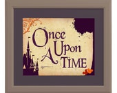 Instant Digital Download - Once Upon a Time - Disney Wedding Art  -Tan, Plum, Apple Red, Orange