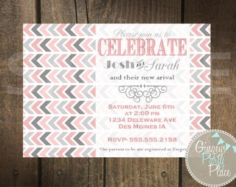 Silver and Pink Glitter Invitation