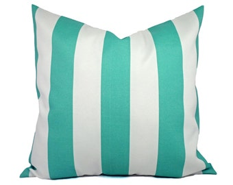 Two Indoor Outdoor Pillow Covers - 16 18 or 20 In - Striped Pillow Covers - Aqua Pillow - Teal Pillow Covers - Patio Pillow - Accent Pillow