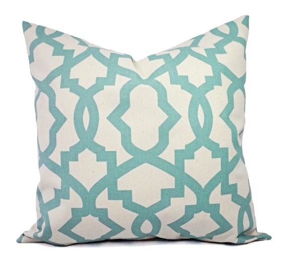 Spa Blue Throw Pillows : Two Pillow Covers Spa Blue Trellis Pillow Covers