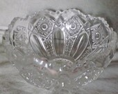 Crystal Sawtooth Serving Bowl L E Smith Heritage Pattern