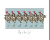 The Can-Can Greeting Card - Blank Inside, Funny Chicken Card
