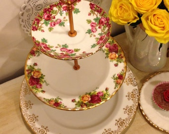 Vintage three tier Cake stand or Jewellery Stand with old country roses.