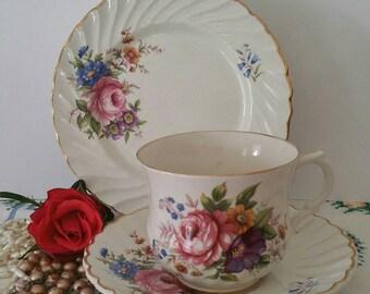 Vintage rose old foley tea cup,saucer and side plate.