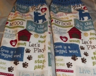 Dog crocheted kitchen towel set
