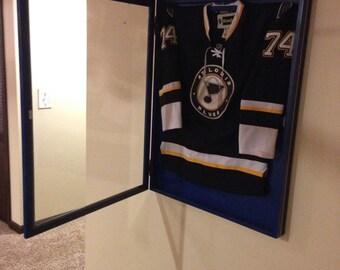Custom colored hockey jersey display case