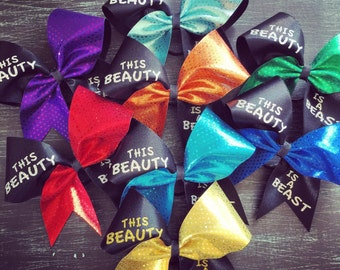 This beauty is a beast cheer bow.
