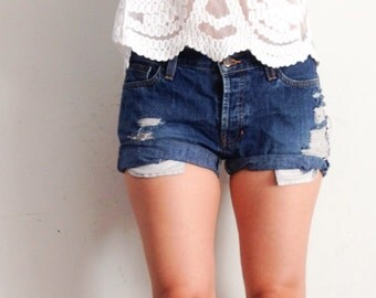Distressed and cuffed shorts