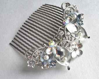 Flower Bridal Comb - Silver Hair Piece with Rhinestones, Silver Wedding Hair Comb, Fashion Hair Comb