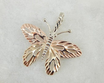 Vintage Tri Color Gold Flashing Butterfly Pendant HMA7YH-P