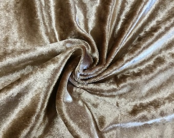 Gold Poly Tricot Velvet Fabric Sold By the Yard 54 inch Wide for Upholstery, Drapery, Curtains, Crafts, Costumes NON Stretch Material - Sale