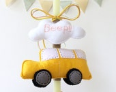 Easter candle with luxury hard cardboard box for packaging -  Easter gift for boys and girls - Stuffed yellow car   - plush animal